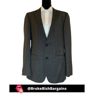 Hugo Boss Gray Striped Suit Jacket Size 42L Blazer